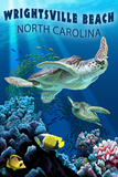 Wrightsville Beach, North Carolina - Sea Turtles Plastic Sign by  Lantern Press