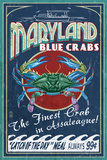 Assateague, Maryland - Blue Crab Vintage Sign Plastic Sign by  Lantern Press