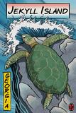 Jekyll Island, Georgia - Sea Turtle - Woodblock Print Plastic Sign by  Lantern Press