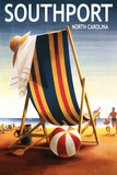 Southport, North Carolina - Beach Chair and Ball Plastic Sign by  Lantern Press