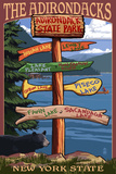 Adirondack, New York - Indian Lake Signpost Destinations Plastic Sign by  Lantern Press