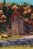 Lancaster County, Pennsylvania - Deer Family and Cabin Scene Plastic Sign by  Lantern Press