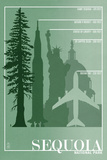 Sequoia National Park - Redwood Relative Sizes Placa de plástico por  Lantern Press