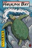 Hanauma Bay, Hawai'i - Sea Turtle - Woodblock Print Plastic Sign by  Lantern Press