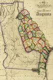 Augusta, Georgia - Vintage Map Plastic Sign by  Lantern Press