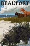 Beaufort, North Carolina - Horses and Dunes Plastic Sign by  Lantern Press