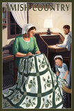 Amish Country - Quilting Scene Plastic Sign by  Lantern Press