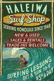 Haleiwa, Hawaii - Surf Shop Vintage Sign (Honolulu Version) Plastic Sign by  Lantern Press