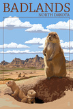 Badlands, North Dakota - Prairie Dogs Plastic Sign by  Lantern Press