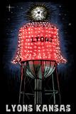 Lyons, Kansas - Watertower - Scratchboard Plastic Sign by  Lantern Press