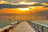 Long Beach Island, New Jersey - Pier at Sunset Wall Mural by  Lantern Press