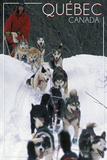 Quebec, Canada - Dogsled Scene Plastic Sign by  Lantern Press