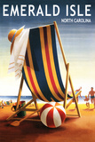 Emerald Isle, North Carolina - Beach Chair and Ball Plastic Sign by  Lantern Press