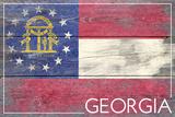 Georgia State Flag - Barnwood Painting Plastic Sign by  Lantern Press