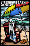 Virginia Beach, Virginia - Beach Chair - Scratchboard Plastic Sign by  Lantern Press