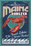 Winter Haven, Maine - Lobster Vintage Sign Plastic Sign by  Lantern Press