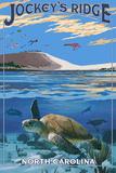 Jockey's Ridge State Park, North Carolina - Ridge and Underwater View Plastic Sign by  Lantern Press
