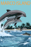Marco Island - Dolphins Jumping Plastic Sign by  Lantern Press