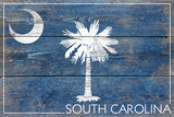 South Carolina State Flag - Barnwood Painting Plastic Sign by  Lantern Press