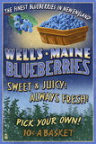 Wells, Maine - Blueberry Vintage Sign Plastic Sign by  Lantern Press