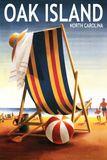Oak Island, North Carolina - Beach Chair and Ball Plastic Sign by  Lantern Press