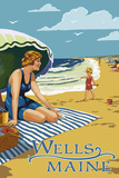 Wells, Maine - Woman on Beach Plastic Sign by  Lantern Press