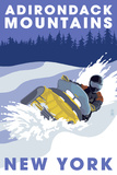 Lantern Press - Adirondack Mountains, New York - Snowmobile Scene Plastové cedule