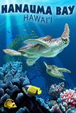 Hanauma Bay, Hawai'i - Sea Turtles Swimming Plastic Sign by  Lantern Press