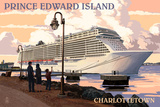 Prince Edward Island - Charlottetown Cruise Ship Plastic Sign by  Lantern Press