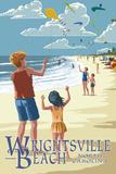 Wrightsville Beach, North Carolina - Kite Flyers Plastic Sign by  Lantern Press