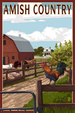 Amish Country - Farmyard Scene Plastic Sign by  Lantern Press