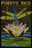 Puerto Rico - Dragonfly Mosaic Plastic Sign by  Lantern Press