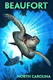 Beaufort, North Carolina - Sea Turtle Diving Plastic Sign by  Lantern Press