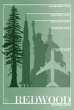 Lantern Press - Redwood National Park - Redwood Relative Sizes - Plastik Tabelalar