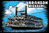 Branson, Missouri - Paddle Wheeler Scratchboard Plastic Sign by  Lantern Press
