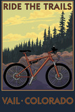 Vail, Colorado - Ride the Trails Plastic Sign by  Lantern Press