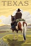 Texas - Cowboy on Ridge Plastic Sign by  Lantern Press
