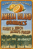 Amelia Island, Florida - Orange Grove - Vinatge Sign Plastic Sign by  Lantern Press