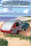 Assateague Island - Retro Camper on Beach Plastic Sign by  Lantern Press