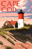Cape Cod National Seashore - Nauset Light and Sunset Plastic Sign by  Lantern Press