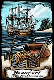 Beaufort, North Carolina - Pirates - Scratchboard Plastic Sign by  Lantern Press