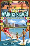 Waikiki Beach, Hawaii - Montage Scene Plastic Sign by  Lantern Press