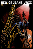 New Orleans, Louisiana - Jazz Band - Scratchboard Plastic Sign by  Lantern Press