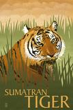 Sumatran Tiger - Lithograph Series Plastic Sign by  Lantern Press
