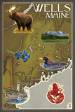 Wells, Maine - Map and Icons Plastic Sign by  Lantern Press