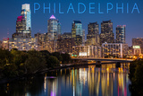 Philadelphia, Pennsylvania - Skyline at Night Wall Mural by  Lantern Press