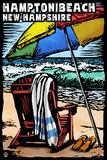 Hampton Beach, New Hampshire - Beach Chair - Scratchboard Plastic Sign by  Lantern Press