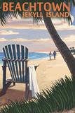 Beachtown - Jekyll Island, Georgia - Adirondack Chair on the Beach Plastic Sign by  Lantern Press