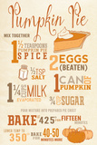 Pumpkin Pie Recipe Plastic Sign by  Lantern Press