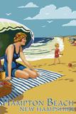Hampton Beach, New Hampshire - Woman on Beach Plastic Sign by  Lantern Press